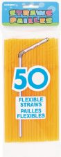 50 Neon Orange Flexible Drinking Straws